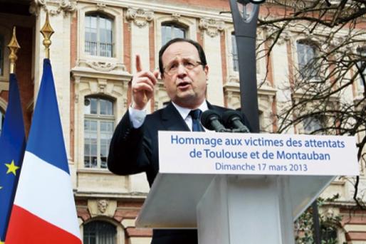 歐蘭德上台以後,積極推動同志婚姻合法化。 圖為法國總統歐蘭德2013年3月17日在土魯斯(Toulouse)發表演說。 (圖文/路透)